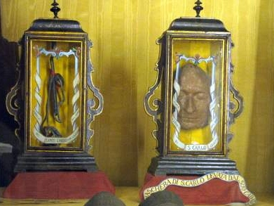 The first wax image of St. Charles Borromeo's face made immediately after his death.